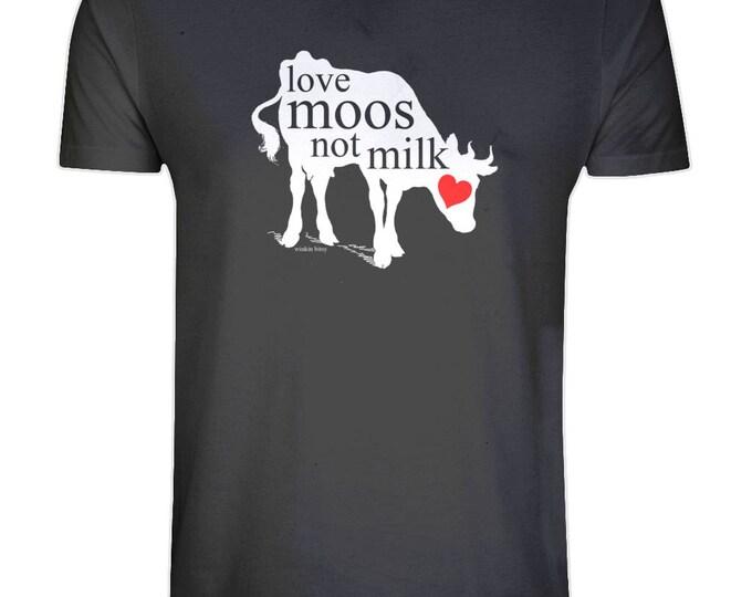 Vegan 'Love Moos Not Milk' White Cow Print Organic Cotton T Shirt. Sizes S-5XL. Plus Sizes. Black.