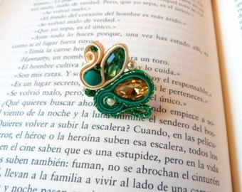 Green vintage ring, 80s ring, big soutache ring, rockabilly ring, adjustable ring, boho ring, statement ring, flamenco ring, bohemian ring