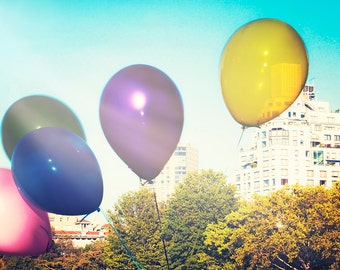 "Central Park - 8x10 photograph - ""Balloons in the Park"" - fine art print - vintage photography - Central Park Photo - New York"