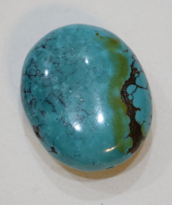 Beads Chinese Blue Green Turquoise Oval Bead 48mm