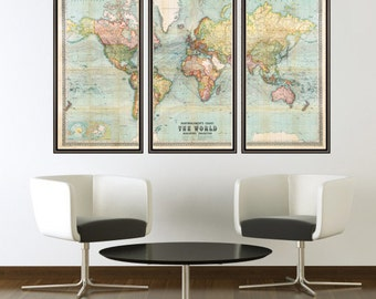Beautiful World Map Vintage Atlas 1914 Mercator projection (3 pieces)