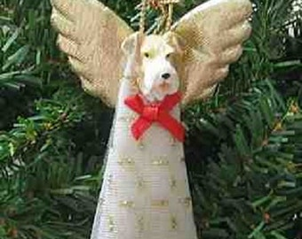 Handmade WIRE FOX TERRIER Small Lace Angel Christmas Tree Ornament or Pet Memorial