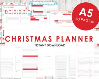 A5 CHRISTMAS Planner Holiday Planner Printable - 63 pages - Budget, Party Planner, Christmas Dinner, Letter to Santa, Wishlist, etc