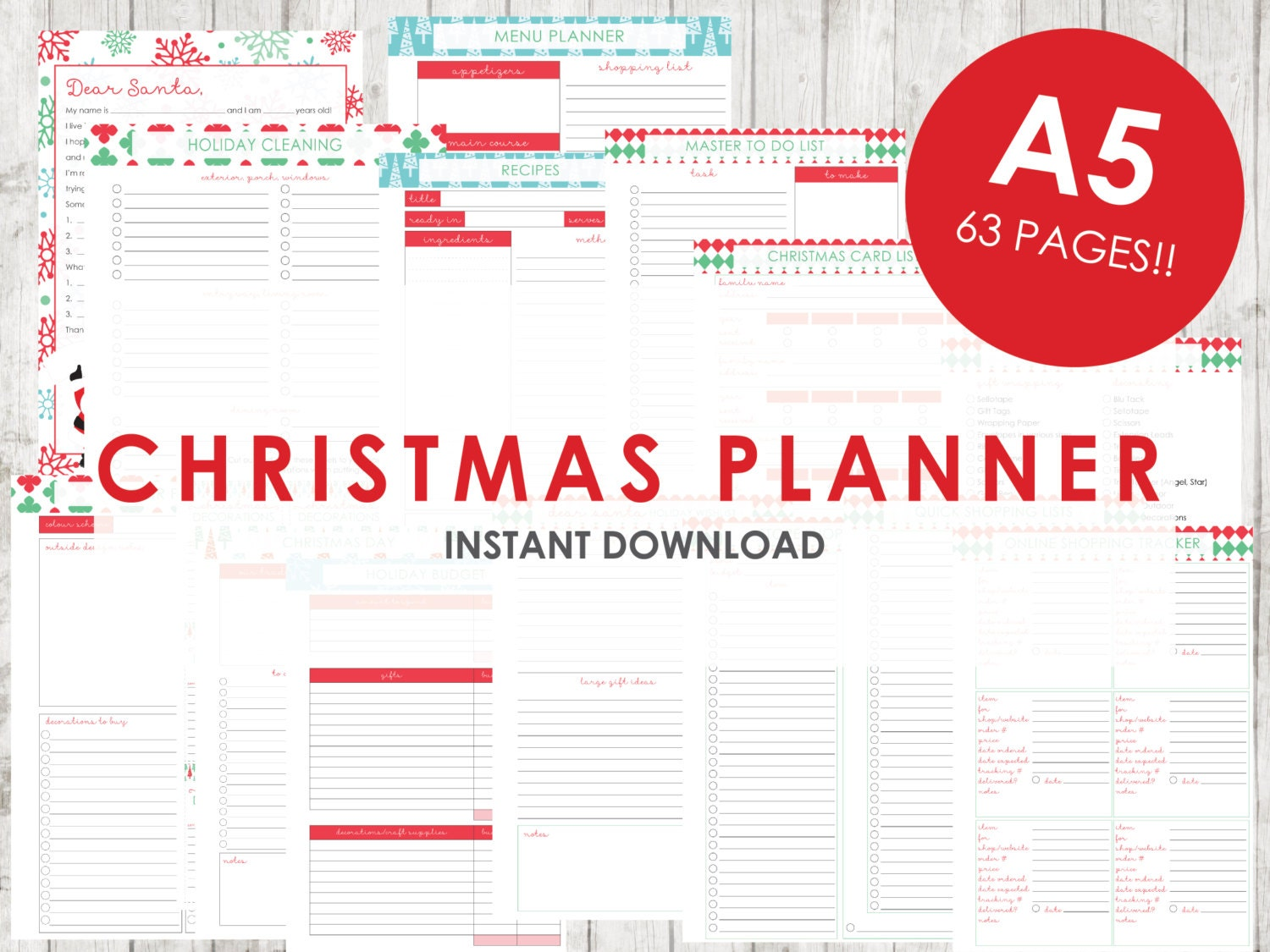 A5 christmas planner holiday planner printable 63 pages zoom spiritdancerdesigns Gallery