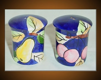 Fruit Pattern Vintage Salt and Pepper Shakers