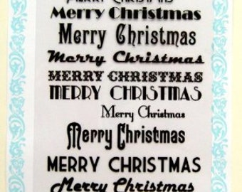 """Merry christmas 1 - Vintage // Clear stamps pack (4""""x7"""") FLONZ"""