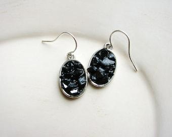 Black Faux Druzy Earrings, Drusy Earrings, Glass Chip Earrings, Resin Glass Earrings, Minimalist Earrings