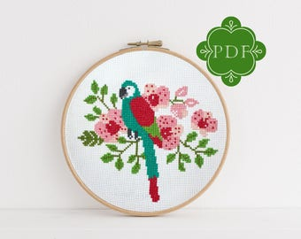 PDF Counted Cross Stitch - Parrot / tropical cross stitch, diy, how-to, embroidery, pattern, gift, fun craft, dmc, supplies, instruction,