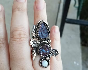 Druzy and opal Spring statement ring, size 7.5
