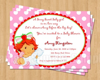 Strawberry Shortcake Baby Shower Invitations JPEG Cute Unique Adorable Polka Dot