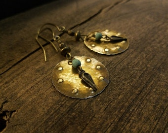 Metal Earrings, 2 1/4 inches, Rustic Earrings, Dangle Earrings, Antique Bronze Earrings