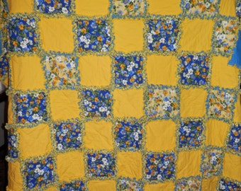 Bright Rag Quilt Yellow and Yellow and Blue Floral