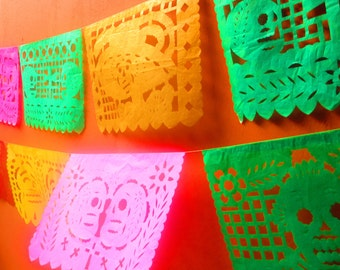 5 Mayo Papel Picado banner 18 feet long, Cinco de Mayo colorful paper or plastic banner bunting garland LARGE, fiesta decor, Coco Banners.