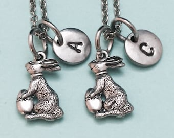 Best friend necklace, easter bunny necklace, holiday necklace, personalized necklace, friends, initial necklace, initial charm, monogram,BFF
