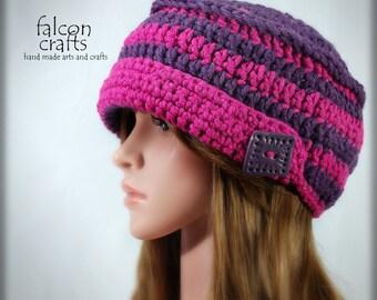 womans crochet beanie hat,red purple,one size,crochet beanie hat,buttons,handmade,acrylic,merino wool,polymer clay,womans beanie hat,crochet