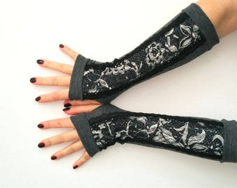 Fingerless gloves  gray with lace