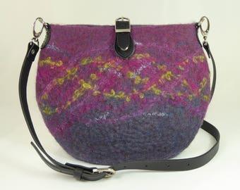 Felt Messenger Bag, Felt Crossbody Bag, Felt Shoulder Bag, Felt Bags for Women, Felt Bags,Felted Bags,Wool Bags,Purple Sparkle Messenger Bag