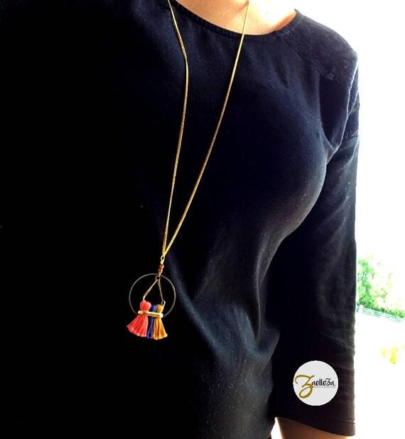 "Necklace gold 14K circle 3 tassels mustard coral blue - model ""Holika"" al. HOLi / / Zaelleza - Bohemian / / Hippie //Graphique //acidule"