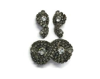 Signed Kramer Jewelry Set, Vintage 1950s 1960s Smoky Gray Rhinestone Brooch and Earrings, Costume Jewelry, Demi Parure