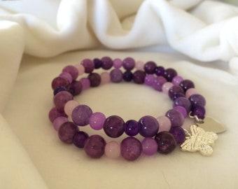 Purple Quartzite and Amethyst Glass Bracelet
