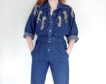 Vintage DENIM Jumpsuit •1990s Western Wear Clothing •Fringe All In One Blue Jean Mechanic Overalls Dungarees Rhinestone • Womens Medium