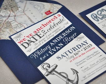 Nautical Wedding Invitation, Navy and Red Wedding Invitation, Cruise Ship Wedding, Anchor Wedding Invitation, Map Envelope Liner