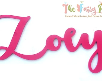 Pink Girl Wall Letters - Fuchsia Pink Baby Girl Wood Letters - Script Girl Nursery Letters - Cursive Newborn Letters - Pink Baby Name Sign