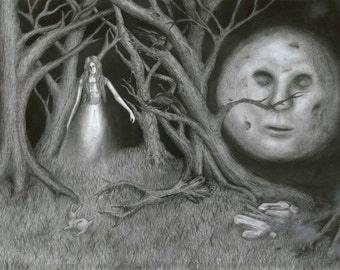 Man in the Moon Watches Over Ghost in the Woods
