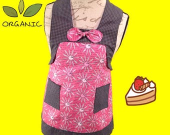 Kids pink flowers with black trim apron