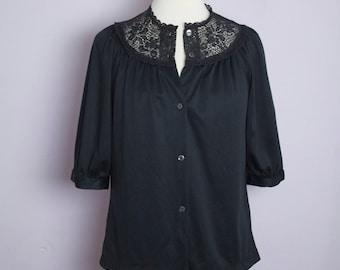 Vintage 1970's Black Lace Yoke Blouse L/XL