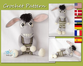Amigurumi Pattern, Donkey Crochet Pattern, Amigurumi Crochet Animal Pattern, CP-152