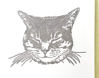 Cat card, Letterpress Card, Kitty Love cards, Letterpress Greeting Cards, Blank Greeting Cards, cute kitty love card, card for her, cat gift
