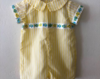 Vintage Baby Boys or Girls Fish Romper Shortalls * Yellow & White Striped Shortalls w/ Fish Size 6 - 12 Months