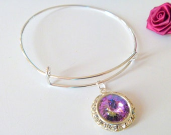 Swarovski Crystal Vitrail Rivoli Charm Adjustable  Bangle Bracelet