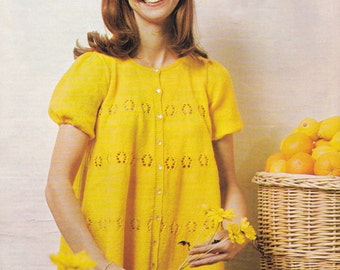PDF lady's pretty smock top vintage knitting pattern pdf INSTANT download pattern only pdf 1970s