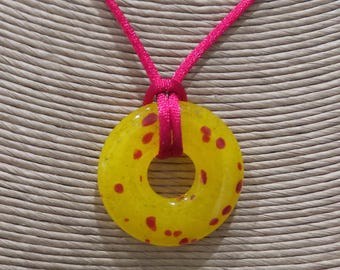 Yellow Necklace, Fused Glass Pendant, Red Polka Dot Necklace, Yellow and Red Fused Glass Jewelry, Ready To Ship - Defiance - 4052 -2