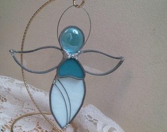 stained glass Aqua ANGEL with aqua heart & wire suncatcher or ornament