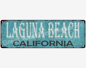 Laguna Beach California Blue Vintage Look Reproduction Metal Sign 6x18 6180338