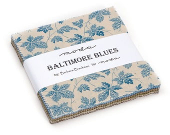 "Moda Charm pack BALTIMORE BLUES from Barbara Brackman 42 5"" squares cotton fabric Civil War Reproduction"