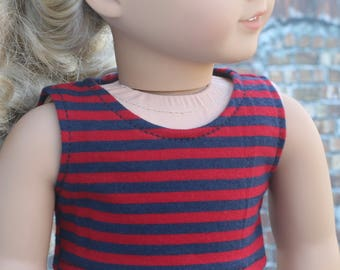 American Made | Red and Navy Stripe CROP TANK TOP 18 Inch Dolls