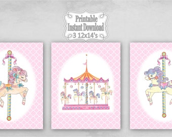 Printable Carousel Horses Merry Go Round Baby Nursery Wall Art Decor Pink Clover Child Kids ~ DIY Instant Download ~ 3 12x14 Prints