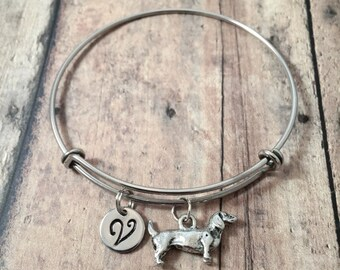 Dachshund initial bangle - dachshund jewelry, doxie jewelry, weenie dog jewelry, dachshund bangle, doxie bracelet, silver dachshund pendant