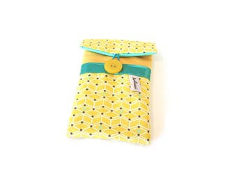 phone case yellow in scandinavian fabric-iphone sleeve for woman-quilted case geometric fabric