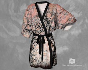 Printed Kimono Robe Unique Kimono Robe Printed Chiffon Kimono Chiffon Kimono Robe Silky Kimono Robe Ladies Kimono Robe Artistic Tree Print