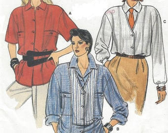 1980s Womens Big Shirt Oversized Shirt with Bodice Details Sleeve Variations Vogue Sewing Pattern 9263 Size 12 14 16 Bust 34 36 38