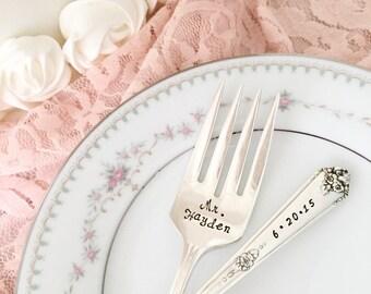 """Mr. & Mrs. with date, vintage wedding cake forks """"sweet briar"""" forks, hand stamped"""