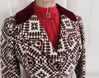 Sale Way Cool Vintage 1960's Edwardian Style Ladies Blazer - Jacket with Velvet Trim