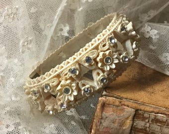 Heavenly Winter White Featherweight Clear Rhinestone Molded Flower Clamper Bracelet Unsigned 1940's 1950's Celluloid Bubblelite Floral
