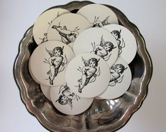 Cupid Tags Round Paper Gift Tags Set of 10
