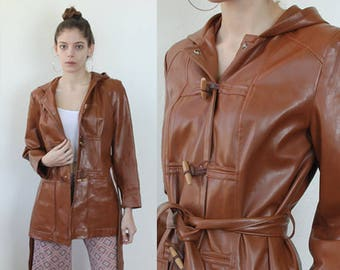 Vintage 70s Jacket // Faux Leather Hooded Trench Coat Brown Toggle Button Womens - Small